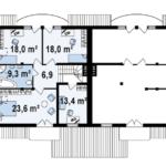 Plan etaj duplex cu 4 camere
