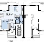 Plan parter cuplex cu 4 camere
