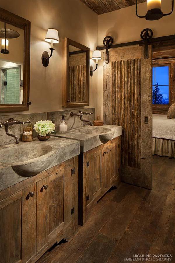 Baie cu mobilier de lemn si piatra