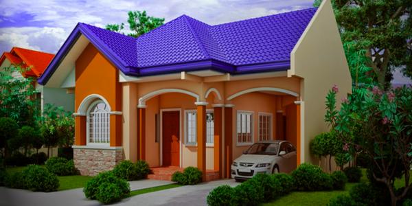Casa colorata cu garaj