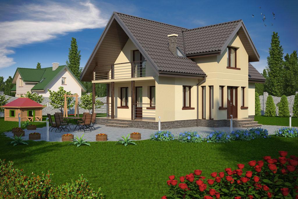 Casa cu balcon mare la mansarda