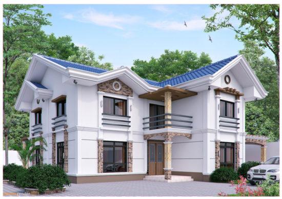 Casa cu etaj si decoratiuni din caramida