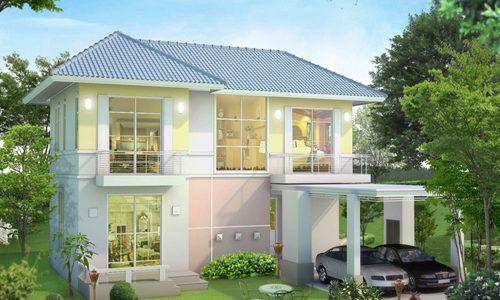 Casa cu etaj si geamuri mari