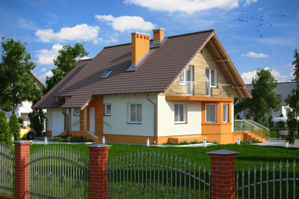 Casa cu mansarda si acoperis in doua ape