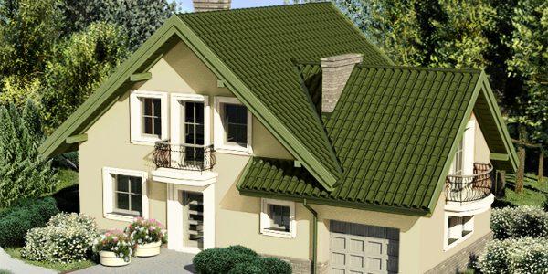 Casa cu mansarda si acoperis verde