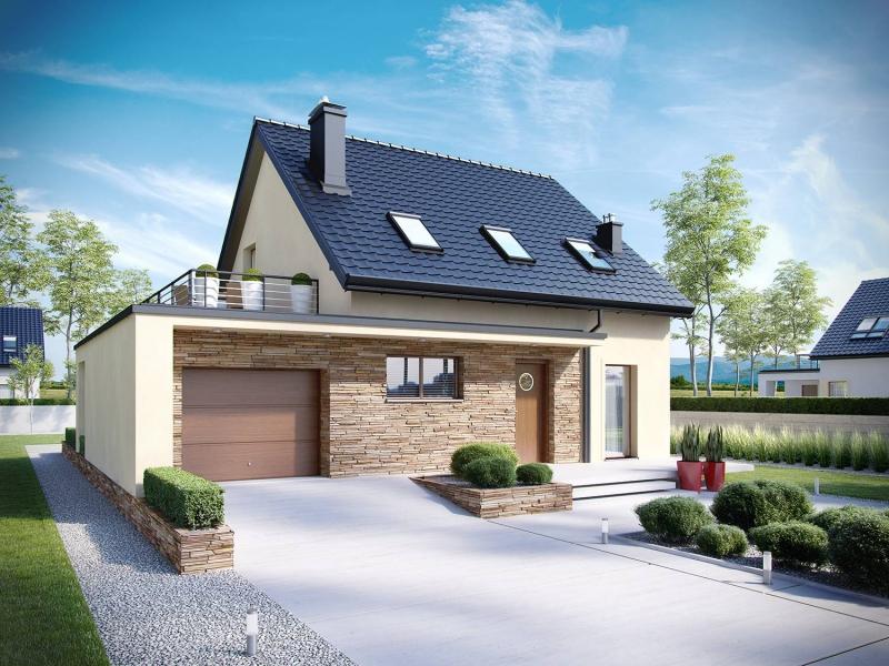 Casa cu terasa pe garaj