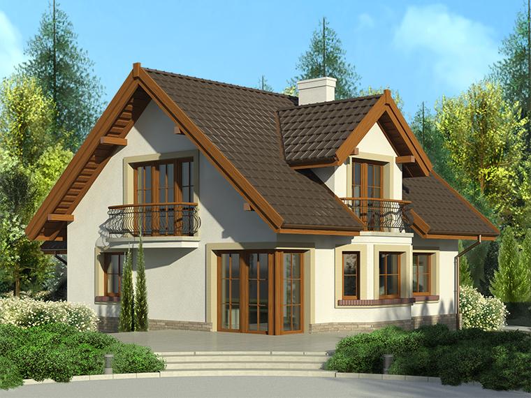 Casa cu mansarda si doua balcoane