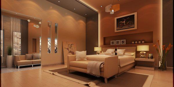 Dormitor modern cu tavan fals