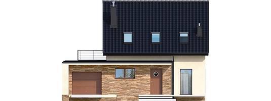 Elevatie casa cu terasa pe garaj