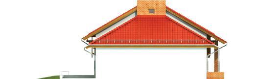 Elevatie dreapta casa cu fatade placate cu caramida