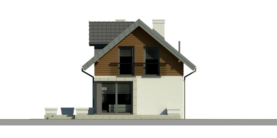 Elevatie spate casa cu terasa la mansarda