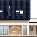 Elevatie spate casa cu terasa pe garaj