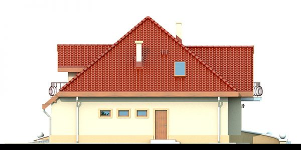 Elevatie stanga casa cu 4 dormitoare si garaj