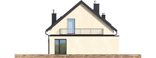 Elevatie stanga casa cu terasa pe garaj