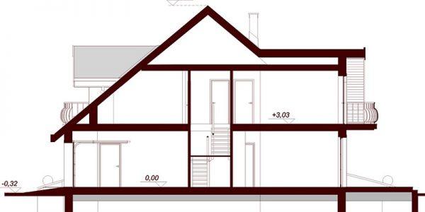 Inaltime casa cu 4 dormitoare si garaj