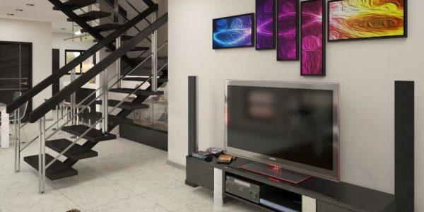 Living cu televizor si sistem audio