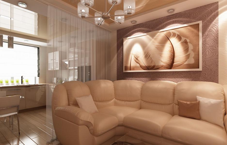 Living modern cu canapea de piele crem
