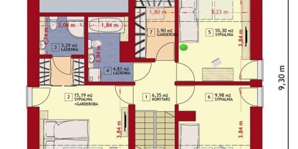 Plan etaj casa cu mansarda si 4 dormitoare