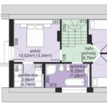 Plan etaj casa cu terasa la mansarda