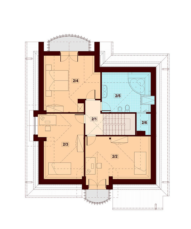 Plan mansarda casa cu 4 dormitoare si garaj