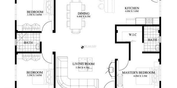 Plan parter bungalow cu 3 camere