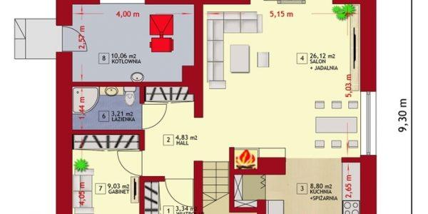 Plan parter casa cu mansarda si 4 dormitoare