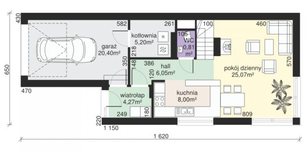 Plan parter casa cu terasa la mansarda