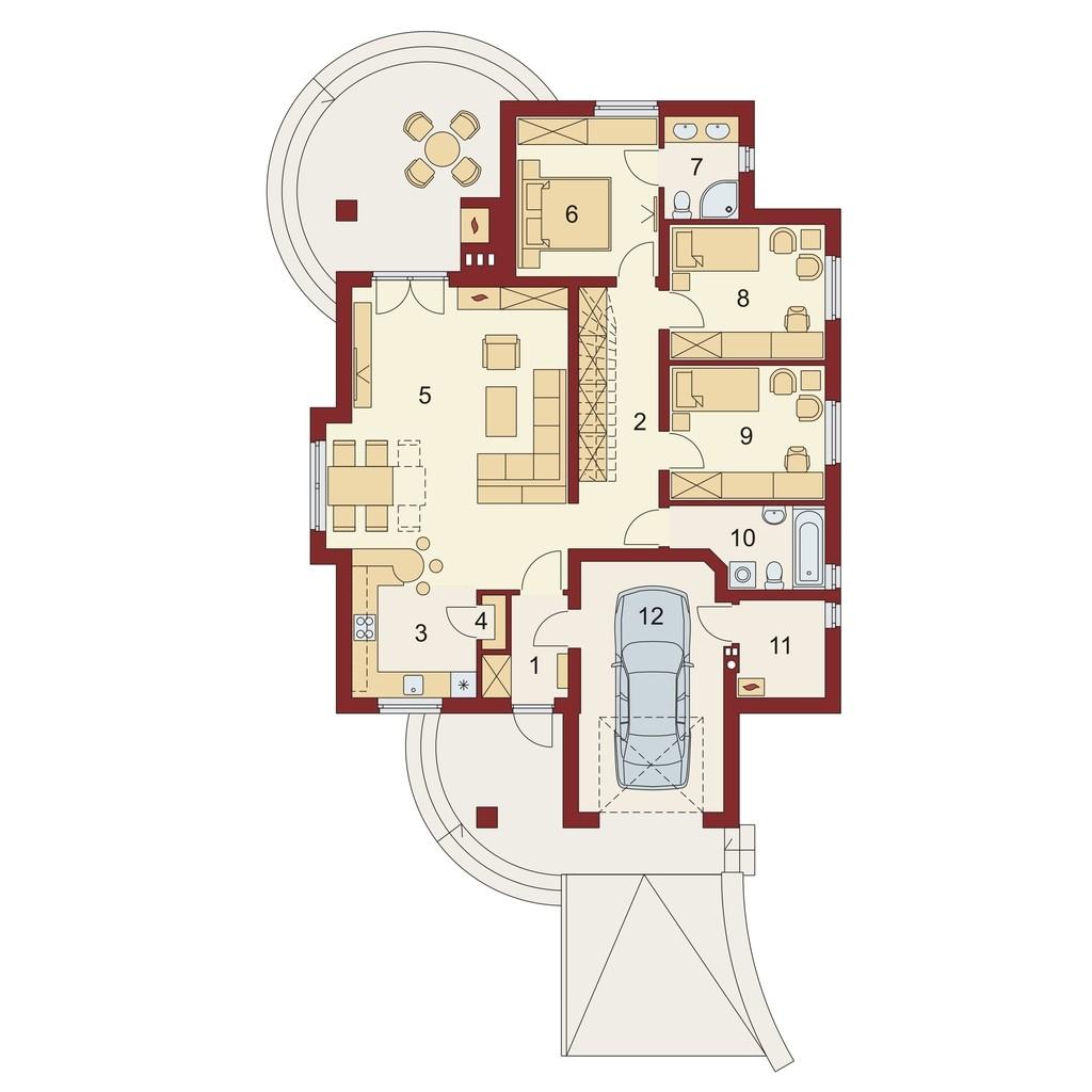 Plan parter casa eleganta cu garaj