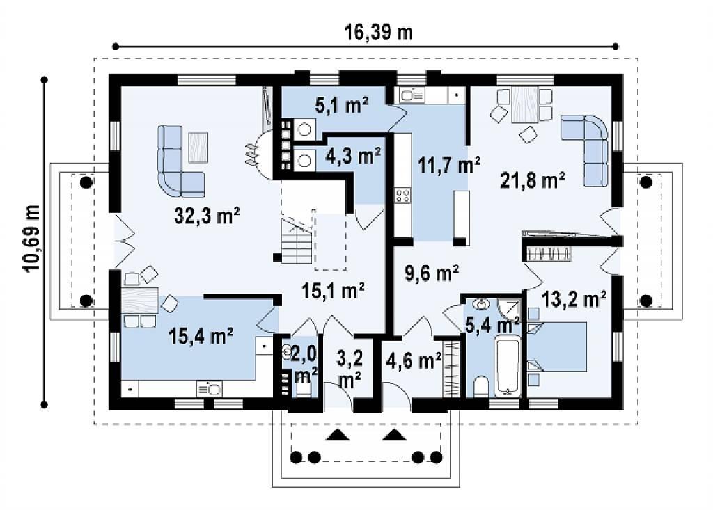 Plan parter duplex cu mansarda