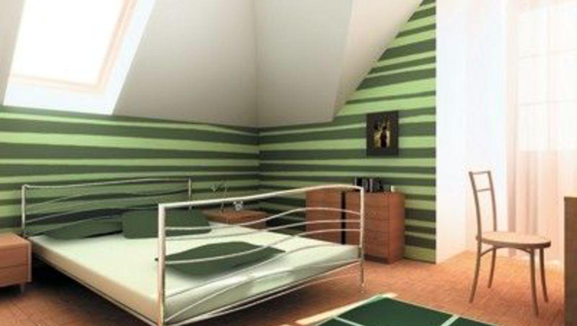 Dormitor cu decor verde