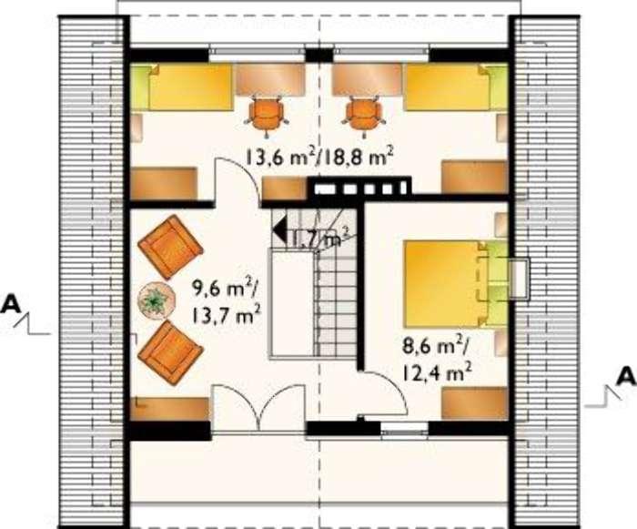 Plan etaj casa cu 2 dormitoare la mansarda