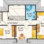 Plan etaj casa cu 3 dormitoare la mansarda