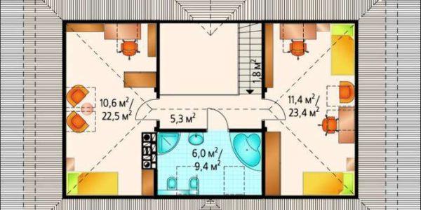 Plan etaj casa eleganta cu mansarda