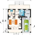 Plan parter casa cu 2 dormitoare la mansarda