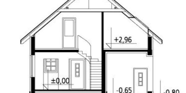 Plan vertical casa cu 2 dormitoare la mansarda