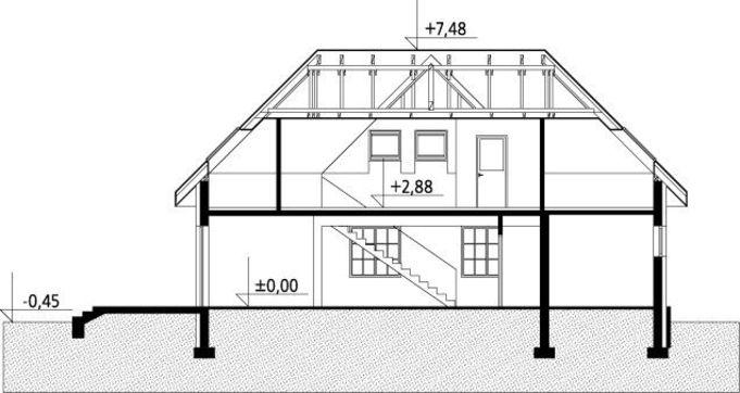 Plan vertical casa cu 3 dormitoare la mansarda