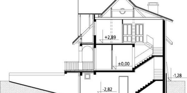 Plan vertical casa cu subsol si mansarda