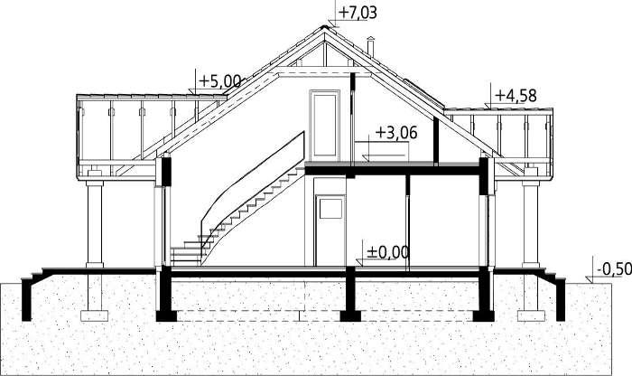 Plan vertical casa eleganta cu mansarda