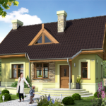 Casa cu mica cu arhitectura moderna