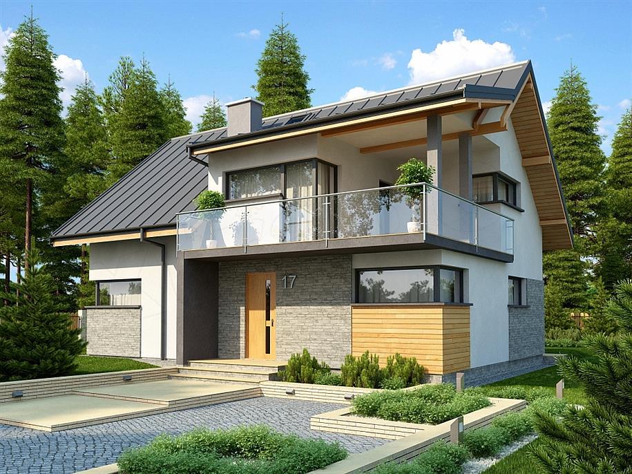 Casa cu terasa la mansarda