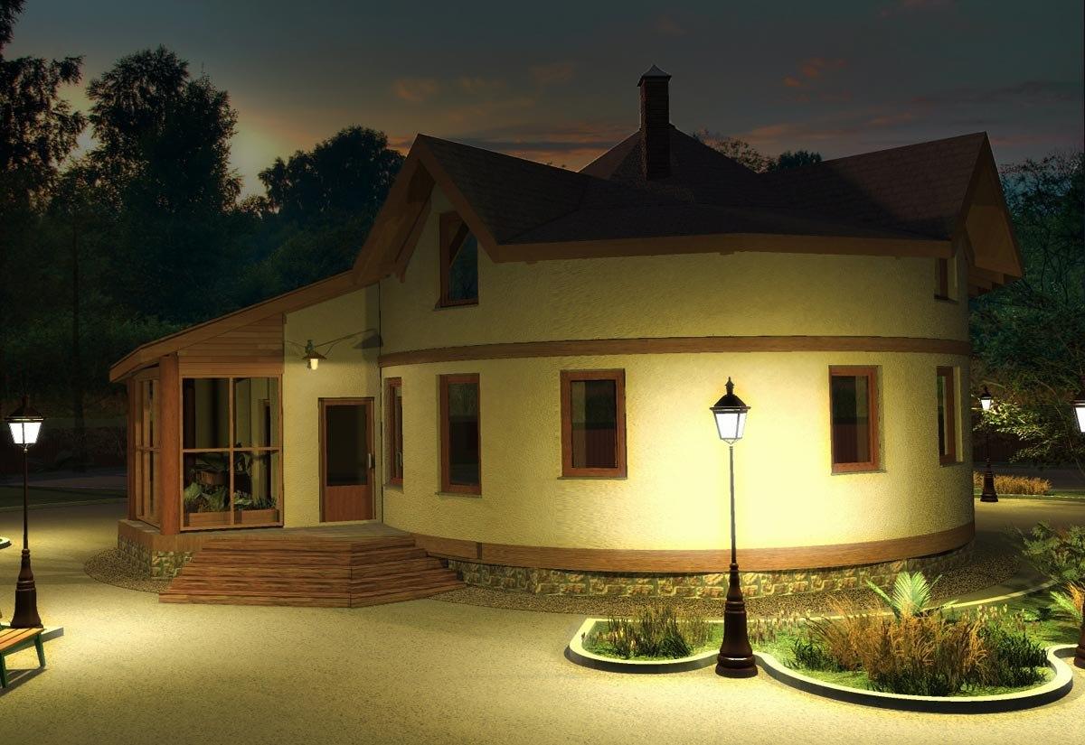 Casa rotunda cu mansarda si conservator
