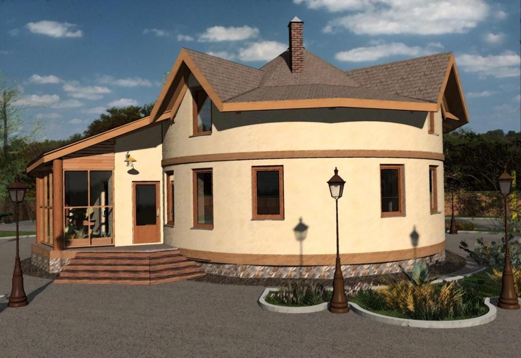 Casa rotunda cu mansarda
