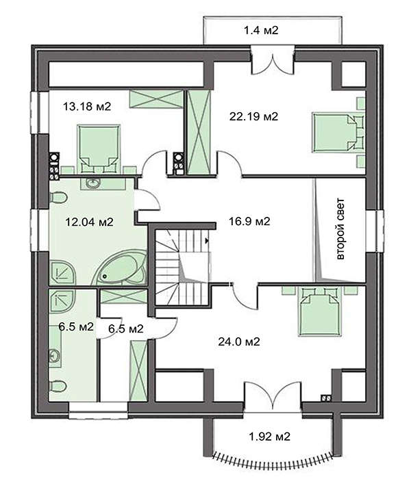Plan etaj casa cu mansarda inalta