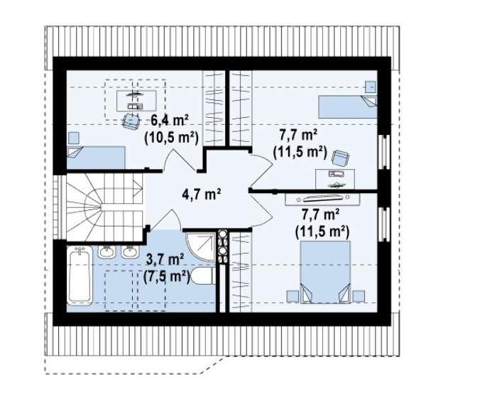 Plan etaj casa mica cu mansarda