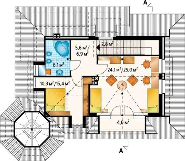 Plan mansarda casa cu 2 dormitoare