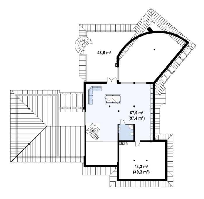 Plan mansarda casa cu garaj dublu