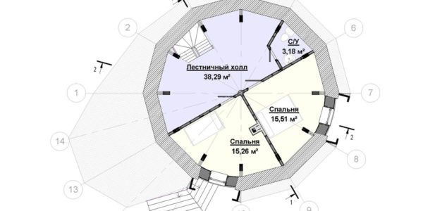 Plan mansarda casa rotunda