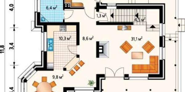 Plan parter casa cu 2 dormitoare