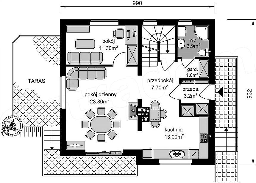 Plan parter casa cu 3 niveluri