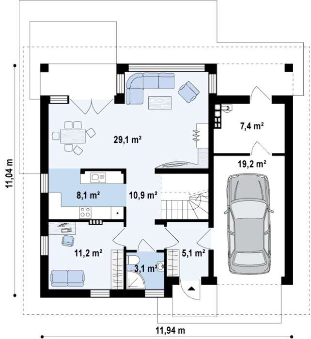 Plan parter casa cu 5 dormitoare